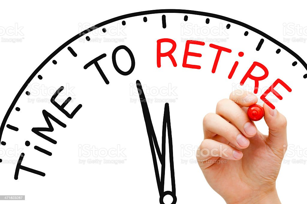 Time to retire diagram in black and red stock photo