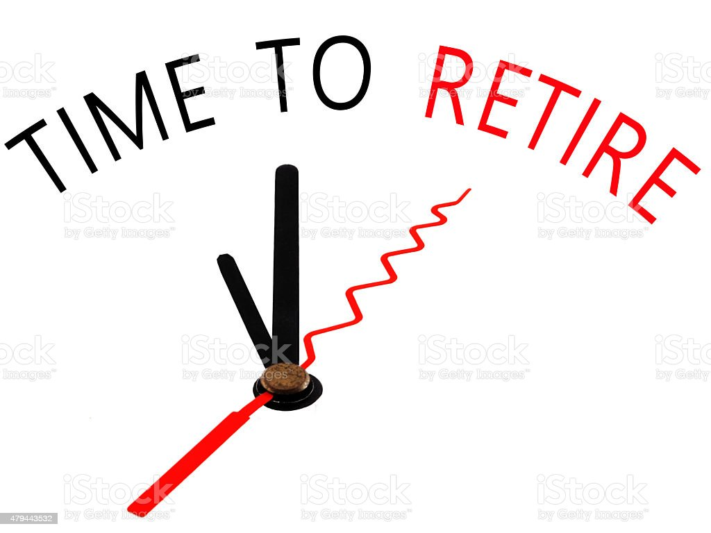 Time to Retire with clock concept stock photo
