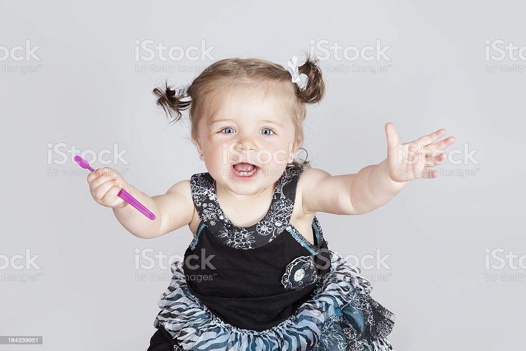 Time to start brushig your teeth stock photo