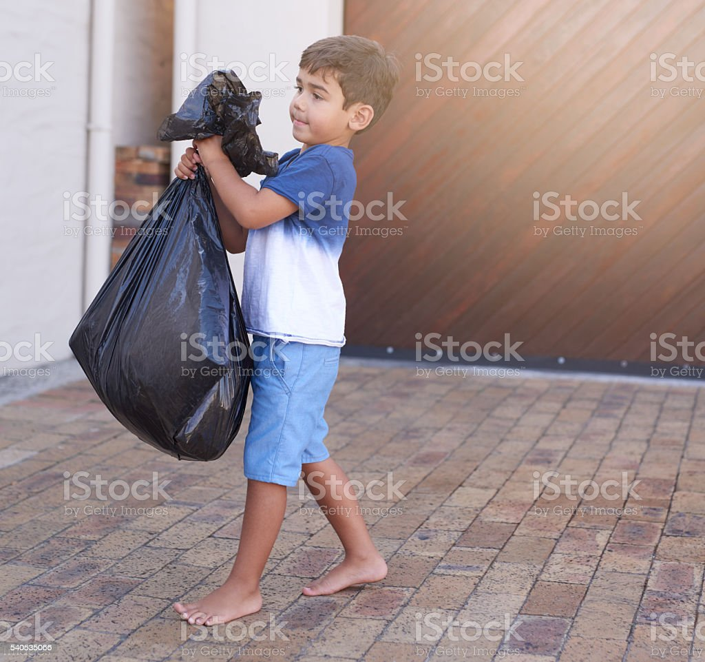 Time to take out the trash stock photo