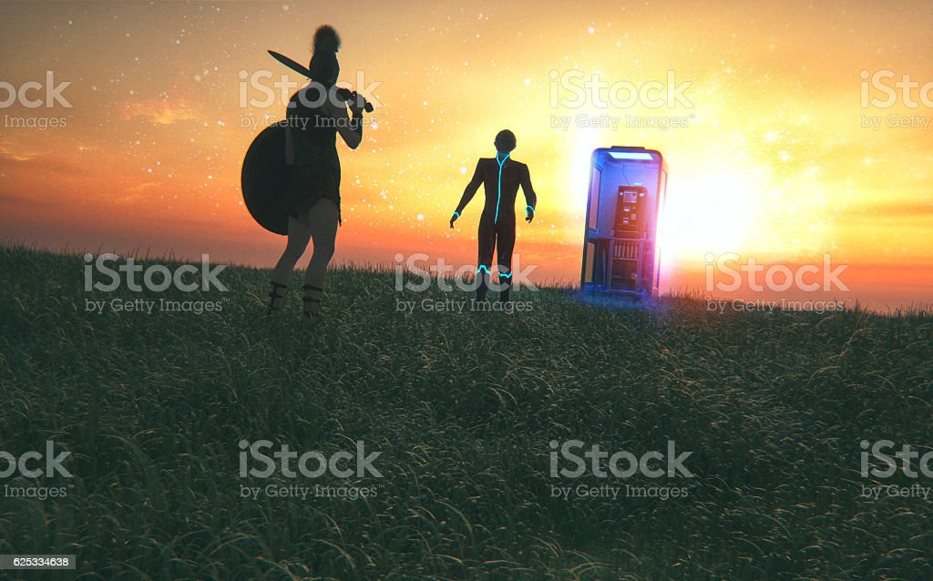 Time traveler meets agent from another period stock photo