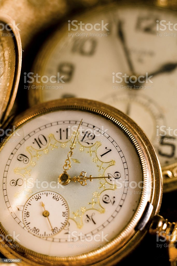 Time: Two antique pocket watches, clocks. stock photo