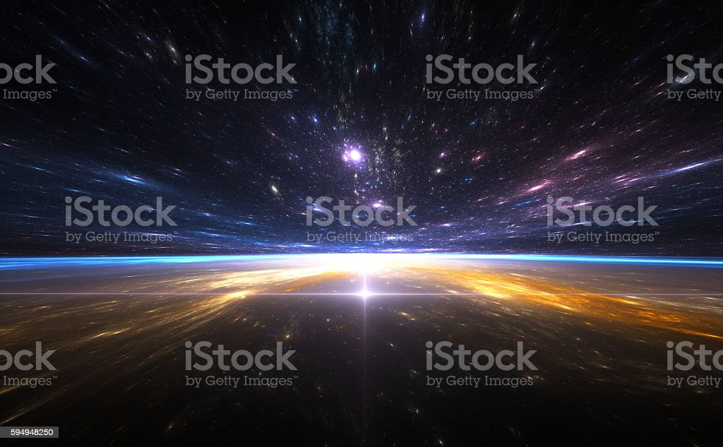 Time warp, traveling in space. stock photo