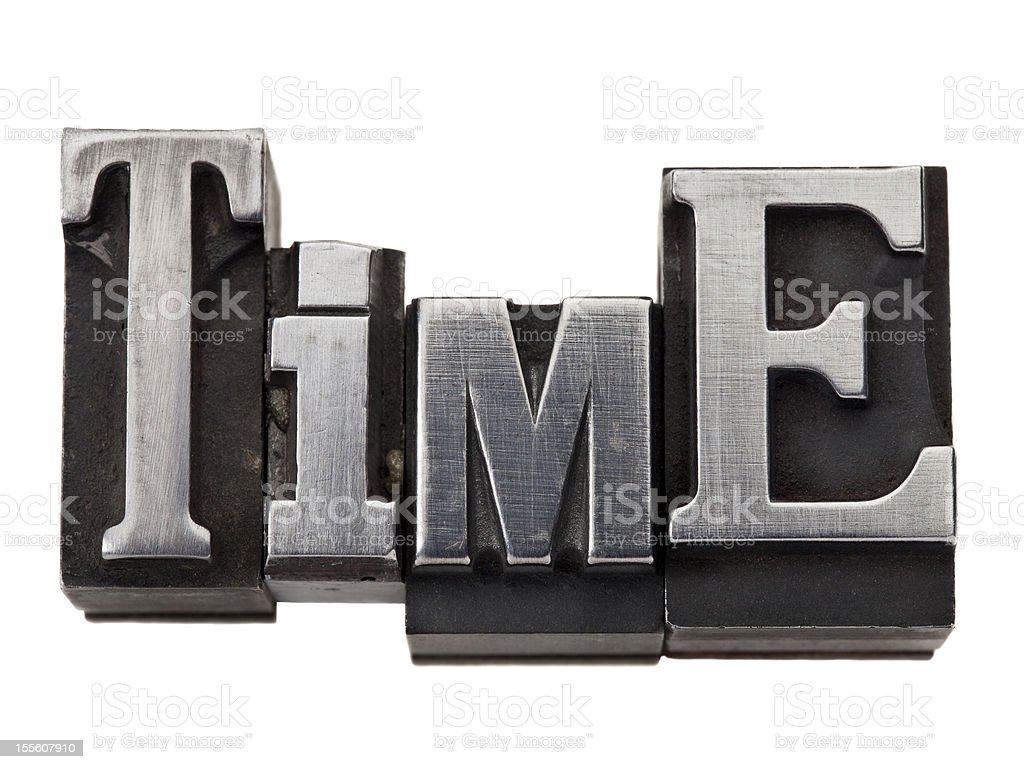time word in metal type stock photo
