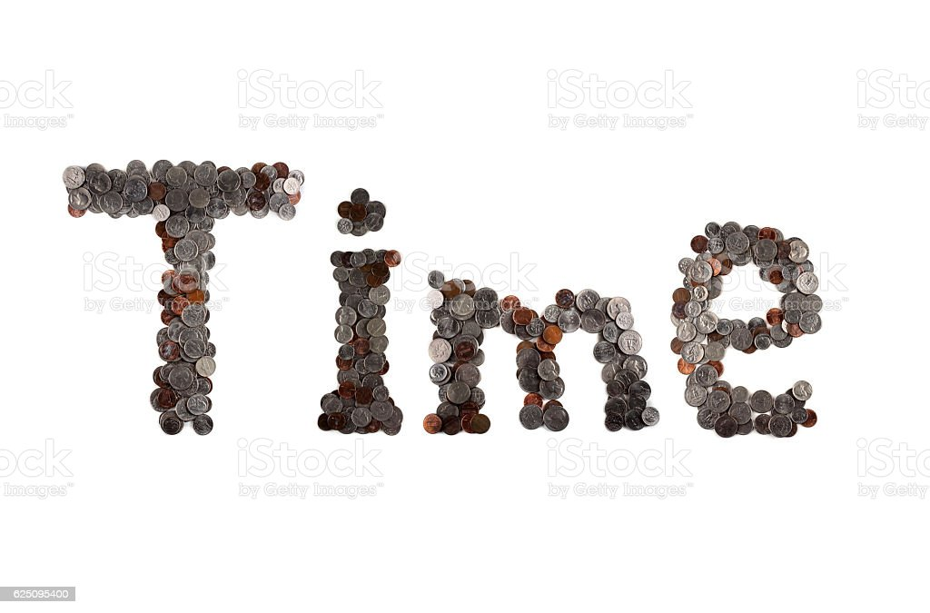 Time. Word made of coins. stock photo