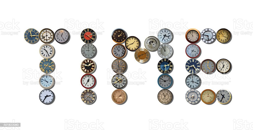 time written with different clocks stock photo