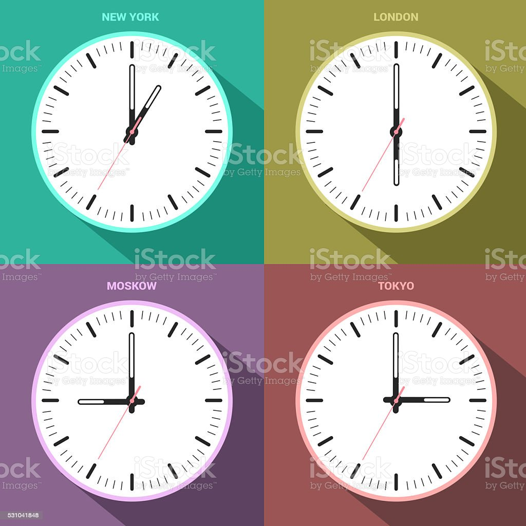 time zone clocks for four different countries, abstract art stock photo