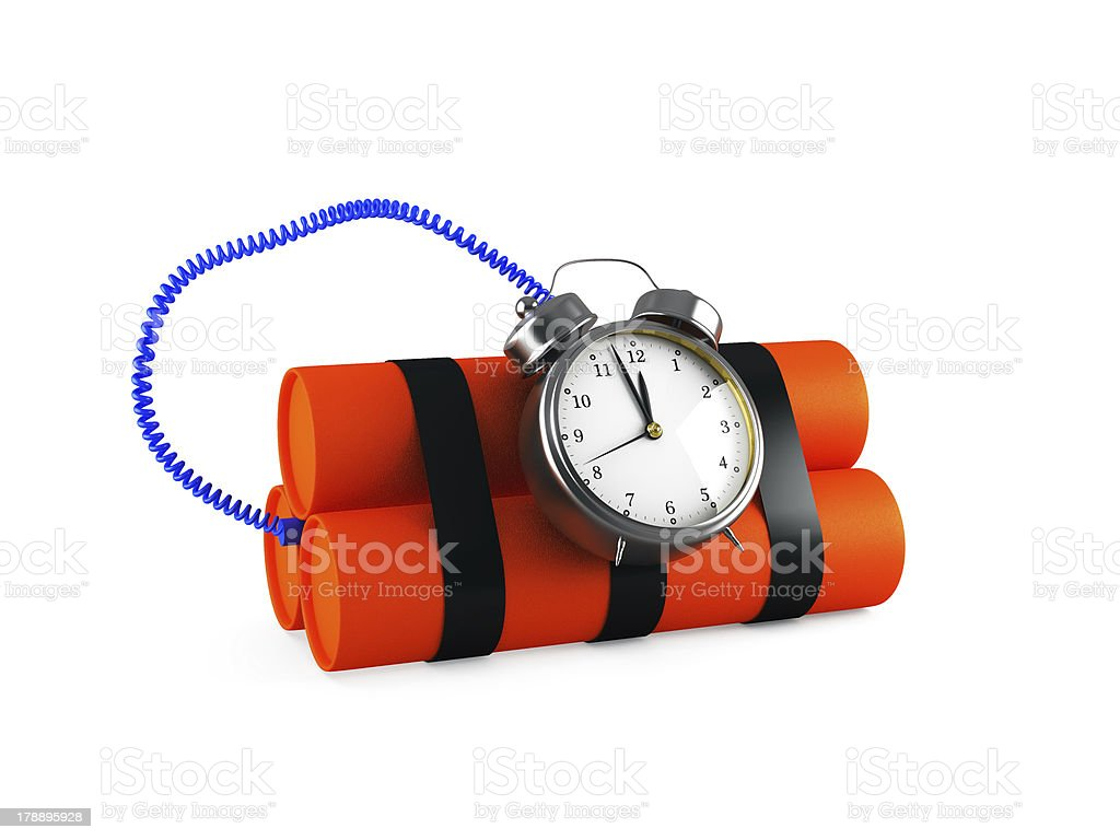 Timebomb made of dynamite, isolated on white royalty-free stock photo