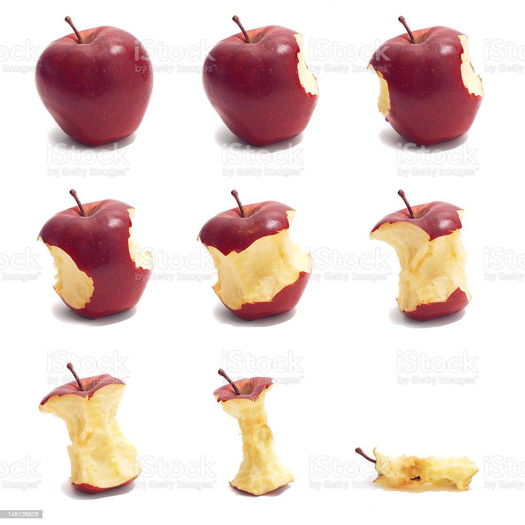 Timelapse red apple eating stock photo