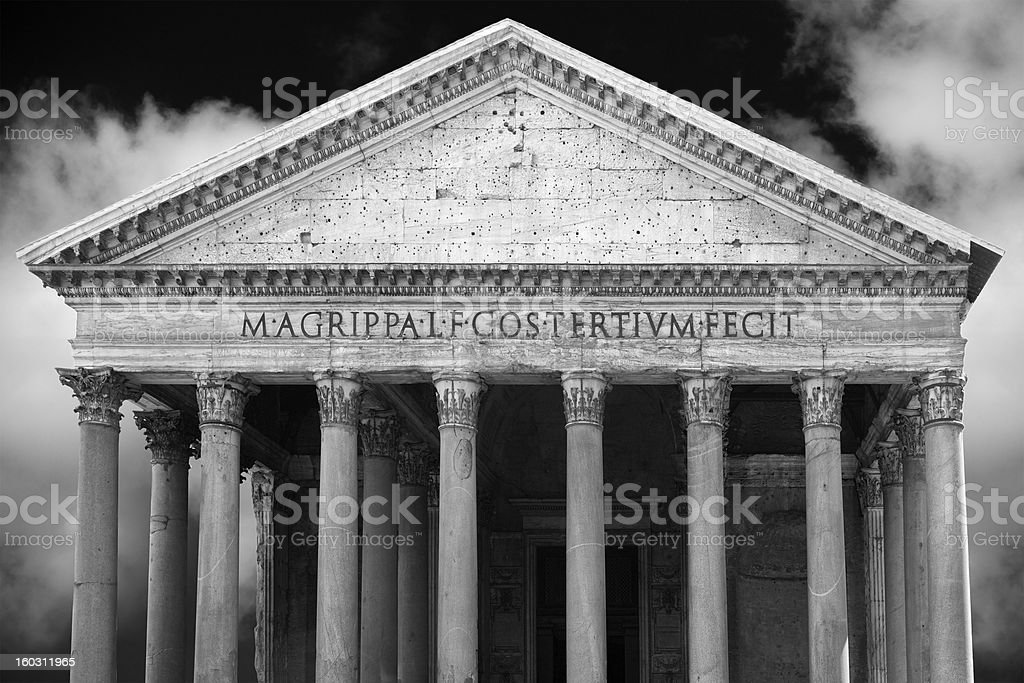 Timeless and celestial composite image of the Pantheon in Rome royalty-free stock photo