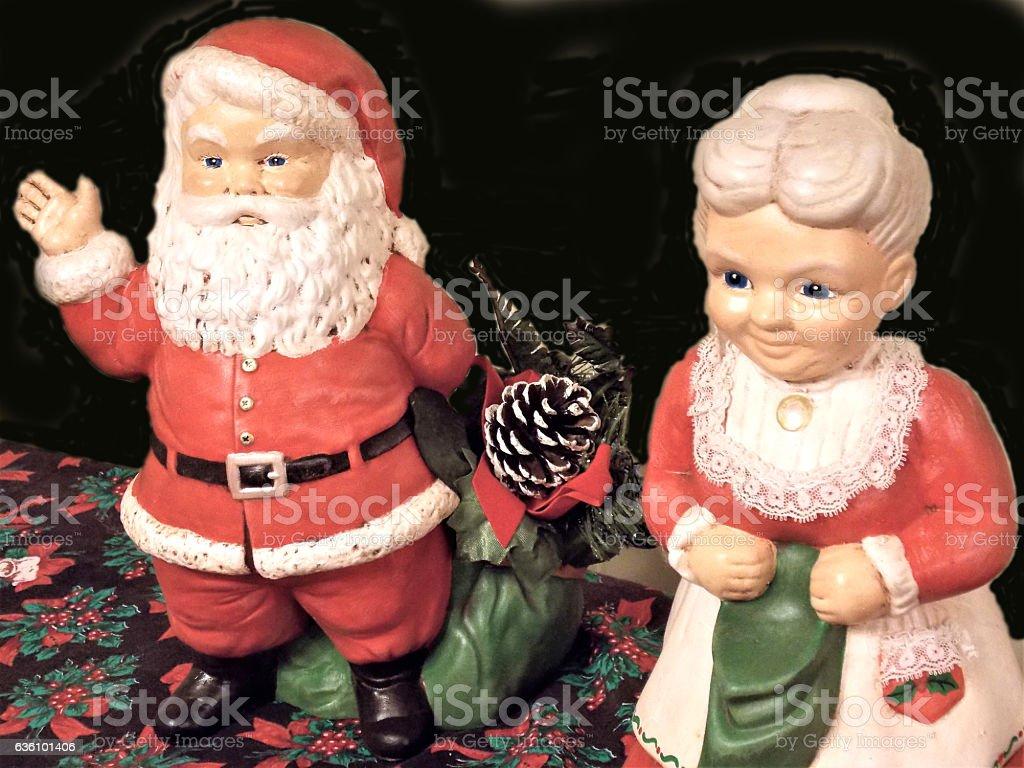 Timeless Heirloom Christmas Figures on Display stock photo