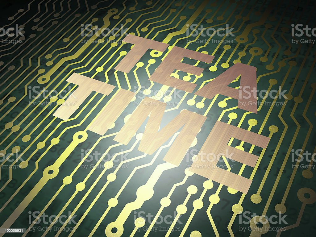 Timeline concept: circuit board with Tea Time stock photo
