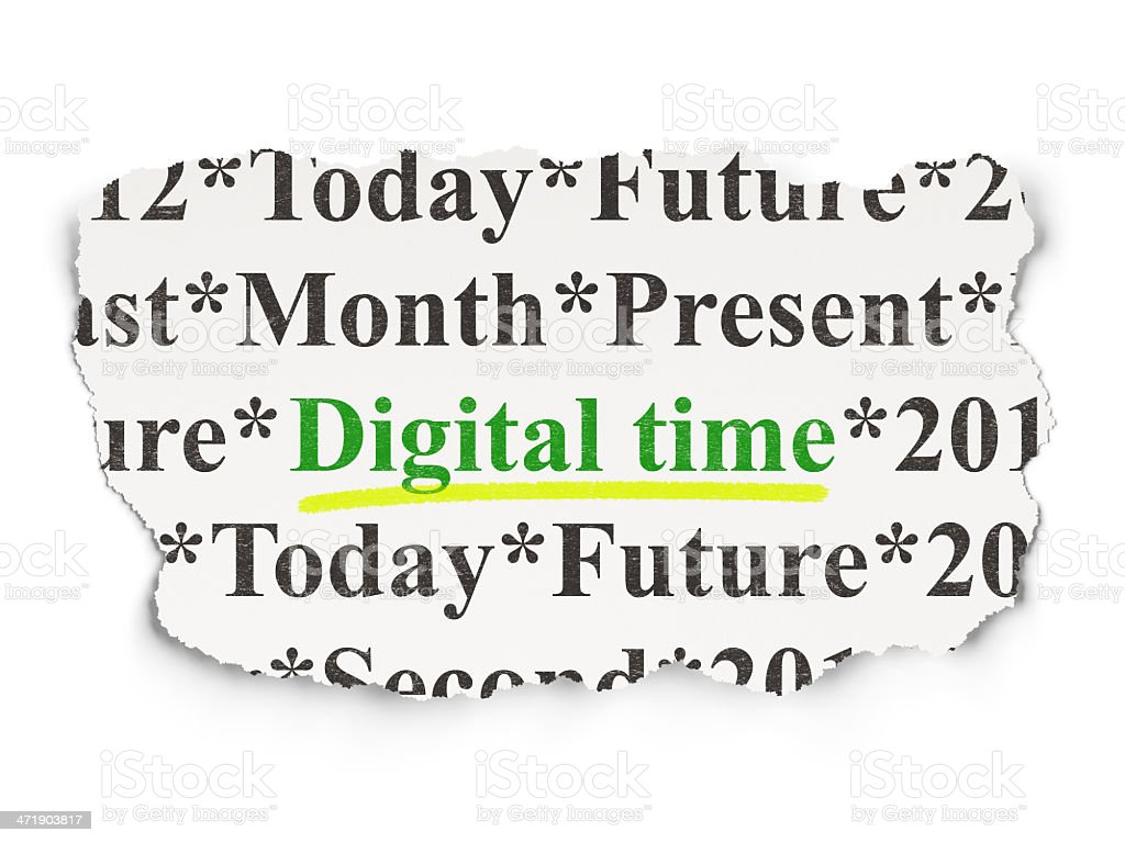 Timeline concept: Digital Time on Paper background stock photo