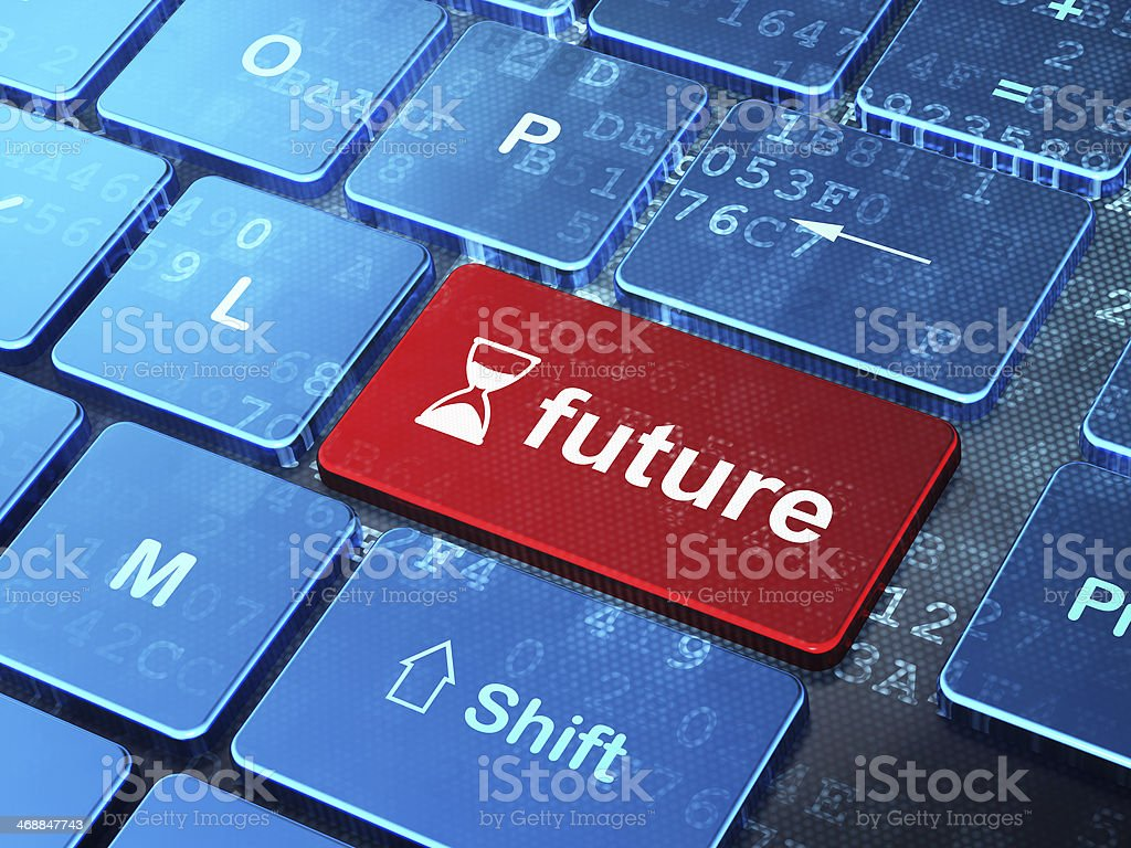 Timeline concept: Hourglass and Future on computer keyboard background stock photo