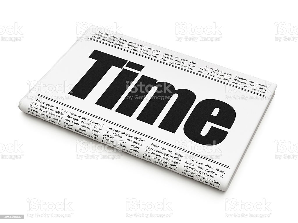 Timeline concept: newspaper headline Time stock photo