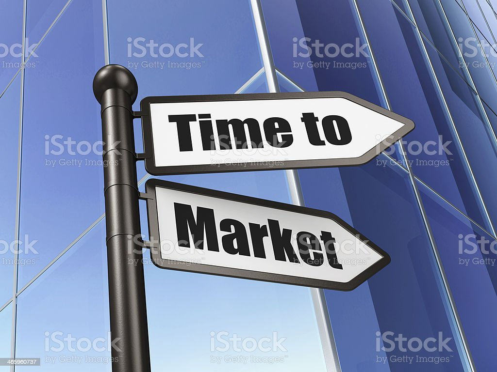 Timeline concept: sign Time to Market on Building background stock photo