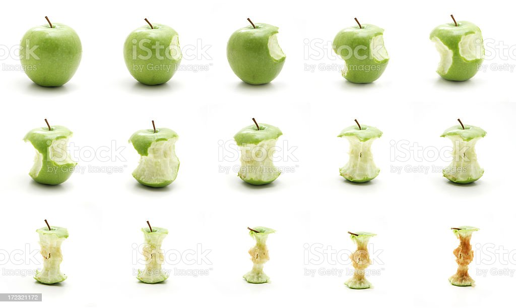 Timeline of eating an apple stock photo
