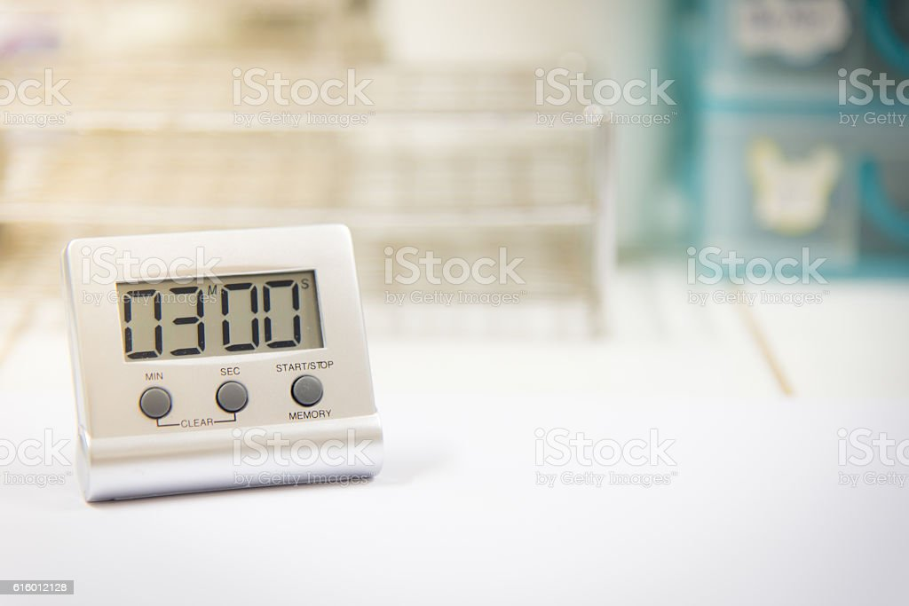 timer on a workspace science. stock photo