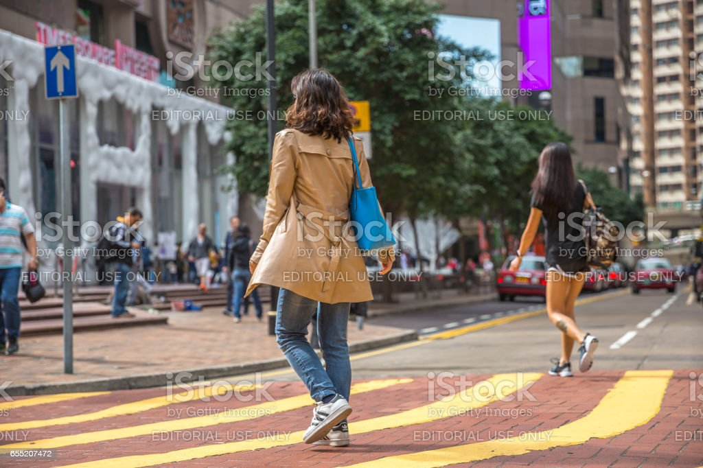 Times Square Asian woman stock photo