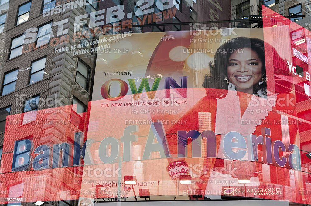 Times Square billboards with Oprah Winfrey and Bank of America royalty-free stock photo