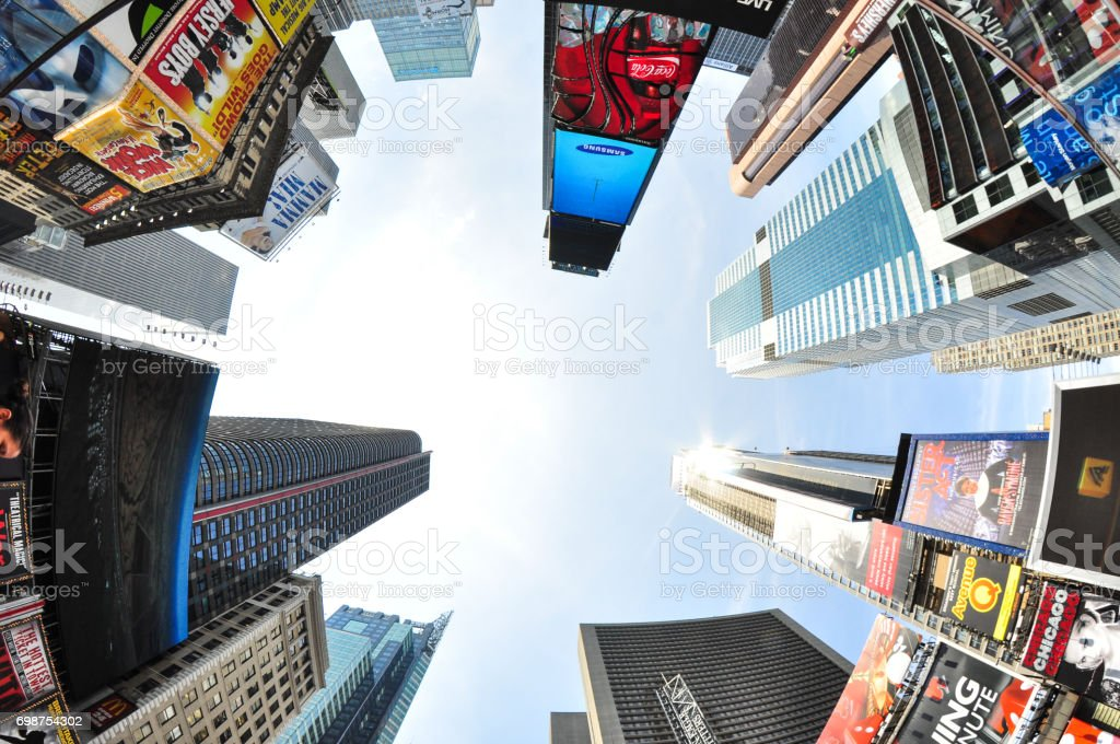 Times Square from the bottom of NYC stock photo