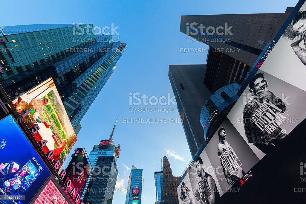 Times Square in Manhattan at dusk stock photo
