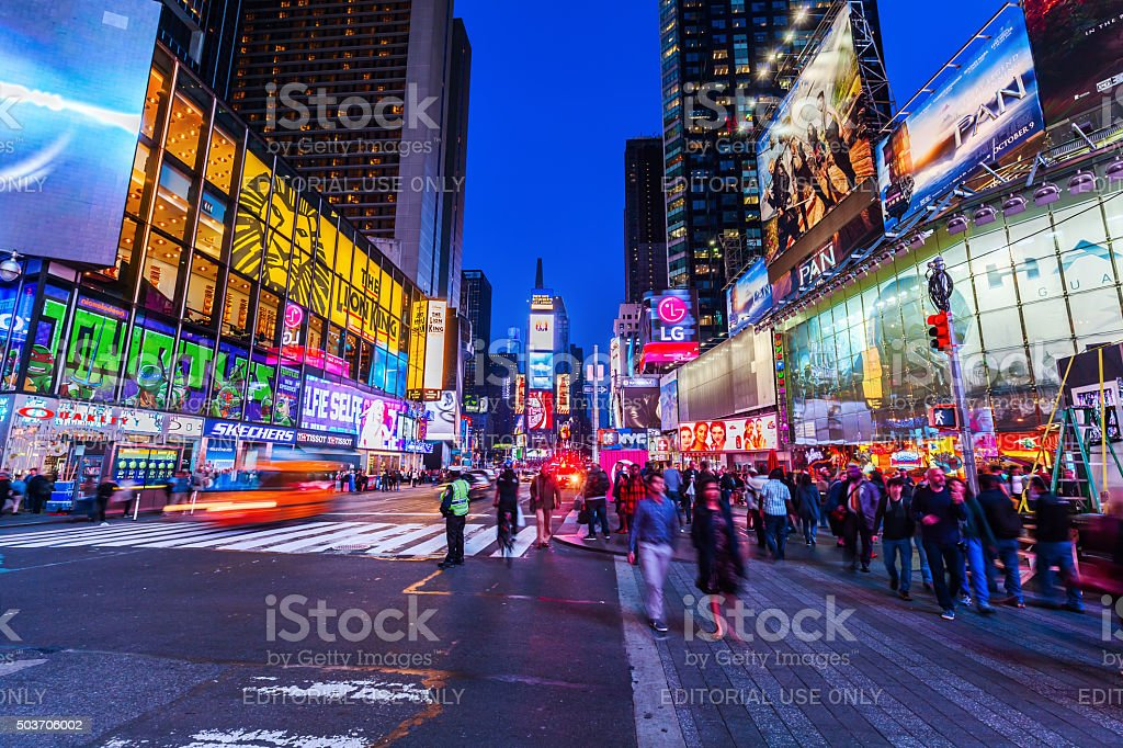 Times Square in Manhattan at night stock photo