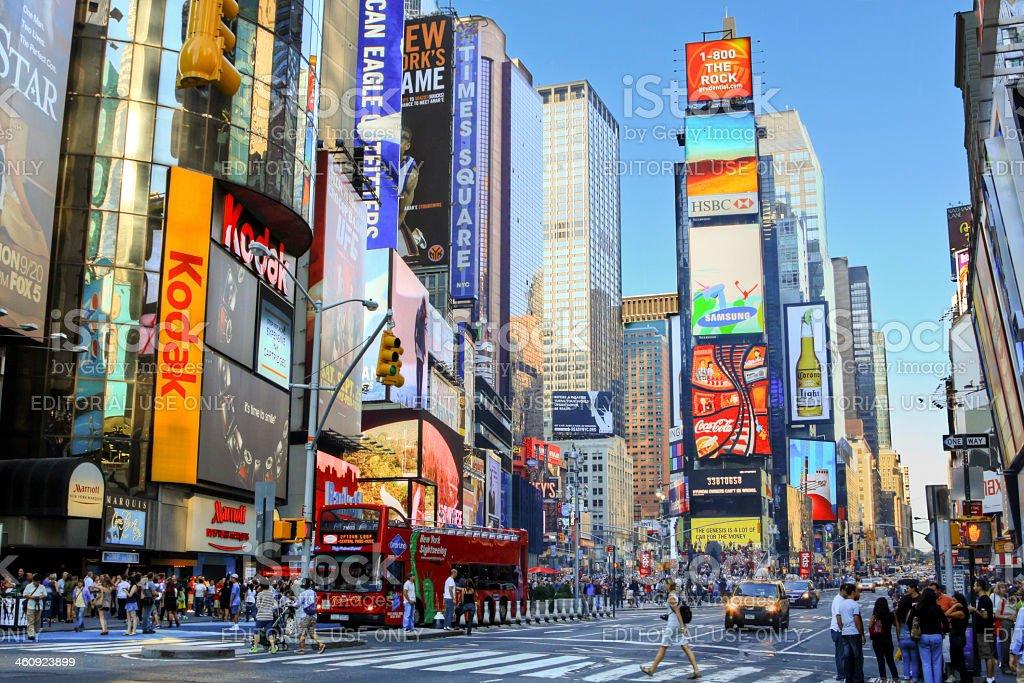Times Square, Manhattan, New York City, lit by evening sun. stock photo