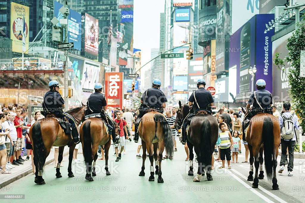 Times Square Mounted Police NYC stock photo