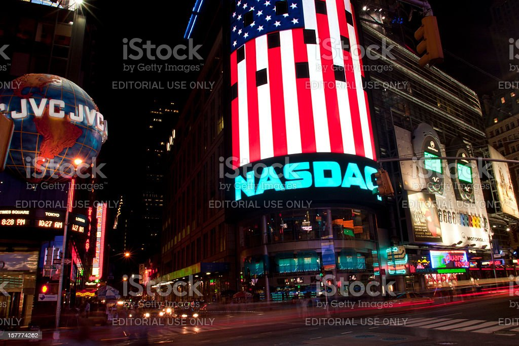 Times Square, New York City, Night, Motion Blur stock photo