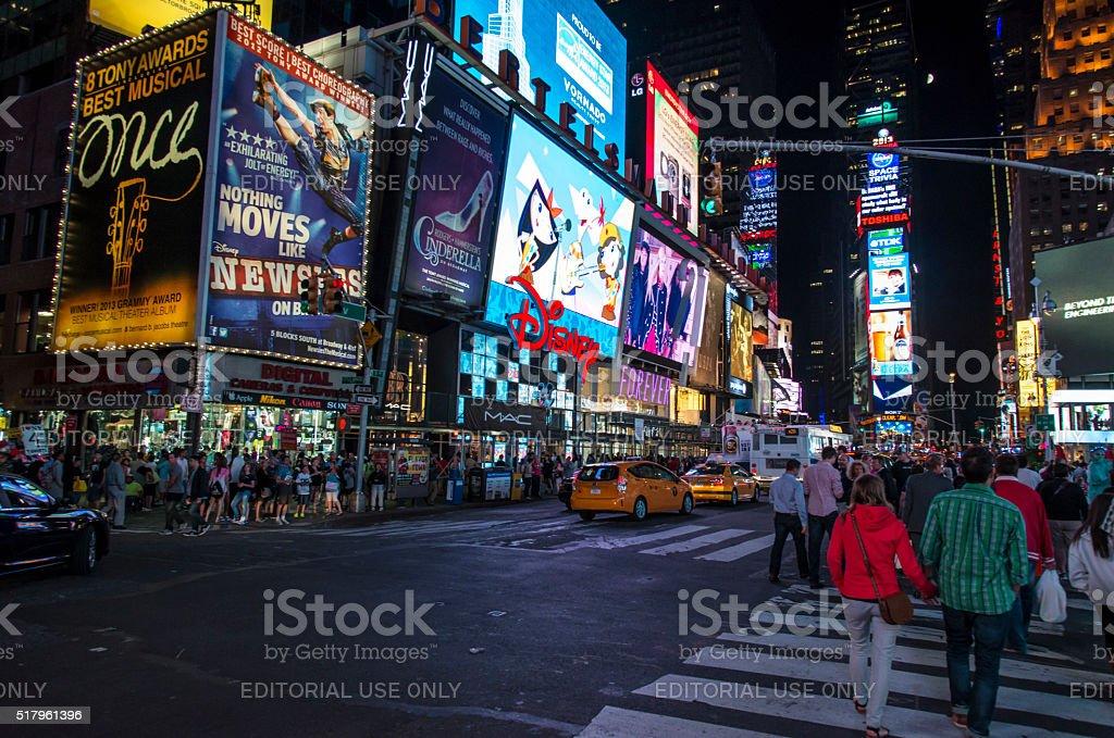 Times Square NY at night stock photo