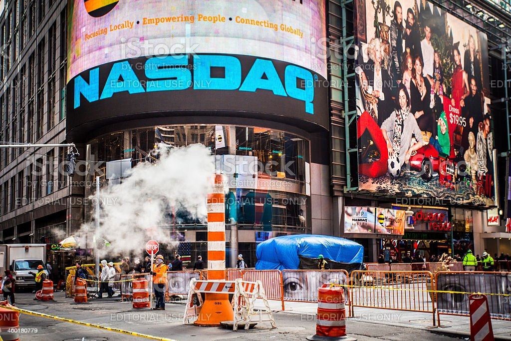 Times Square NYC Construction stock photo