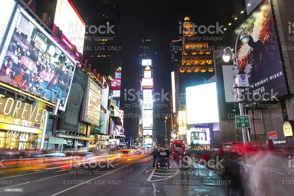 Times Square Scene at Night, New York City, Usa stock photo
