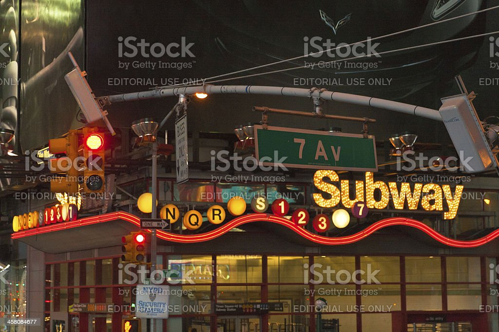 Times Square subway entrance at night royalty-free stock photo
