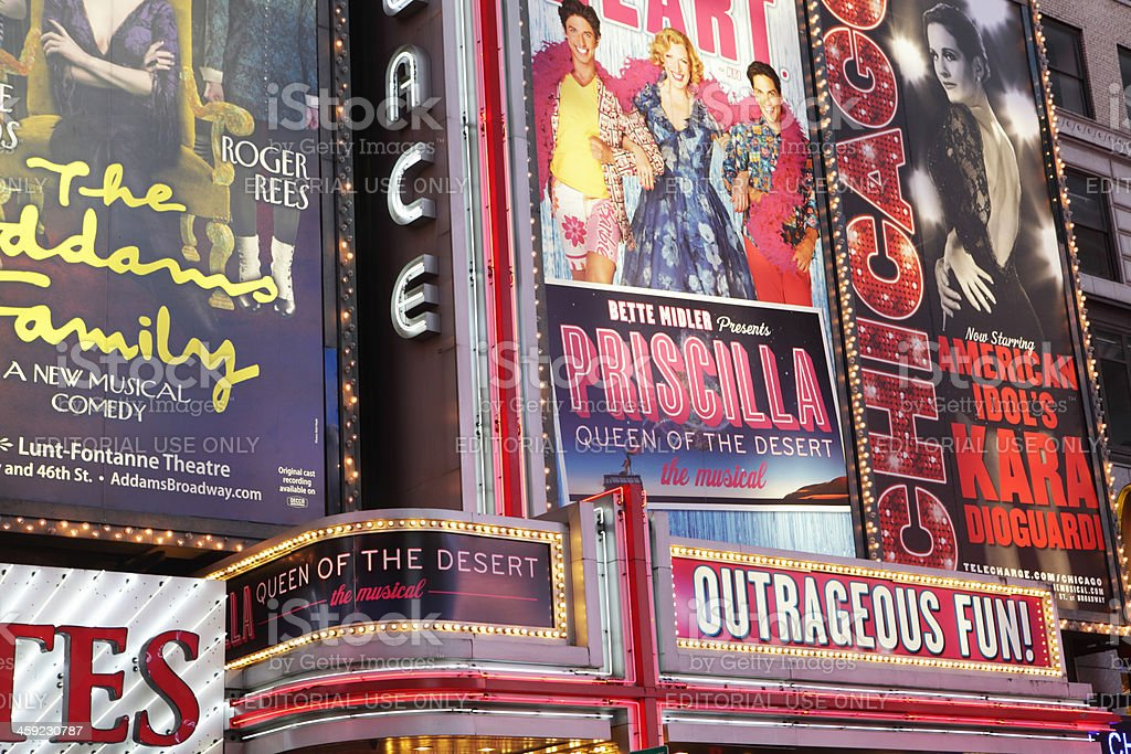Times Square theater district billboards on Seventh Avenue royalty-free stock photo