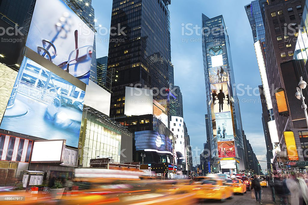Times Square Traffic at Dusk, New York City stock photo
