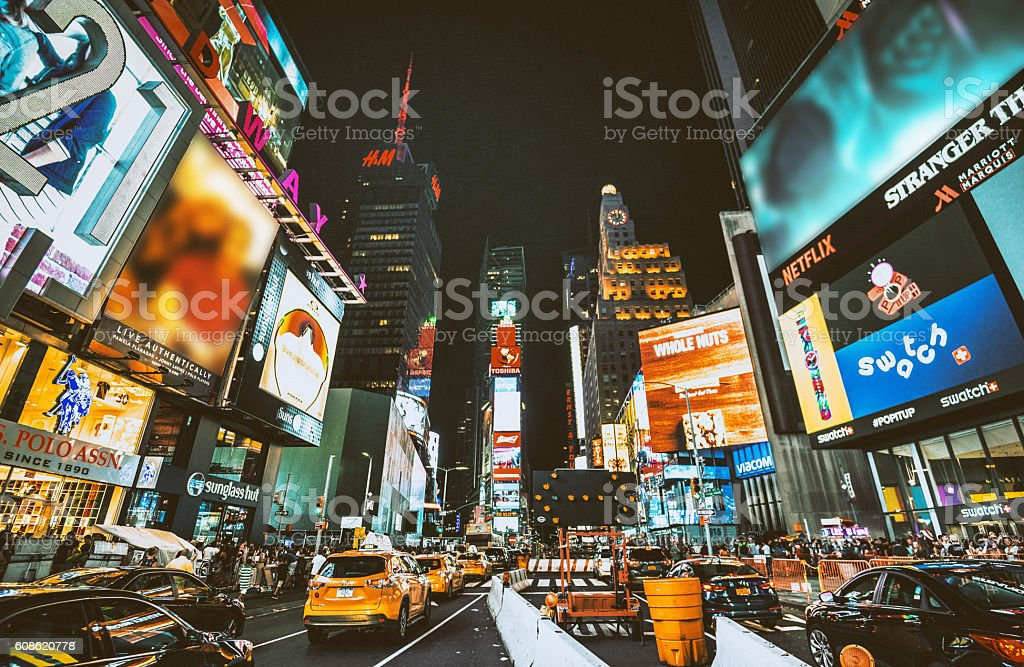 times square with billboard on the buildings stock photo