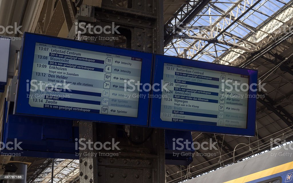 Timetable board in Amsterdam Railway Station stock photo