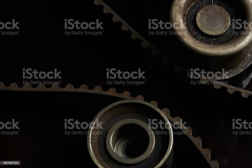 timing belt and rollers stock photo