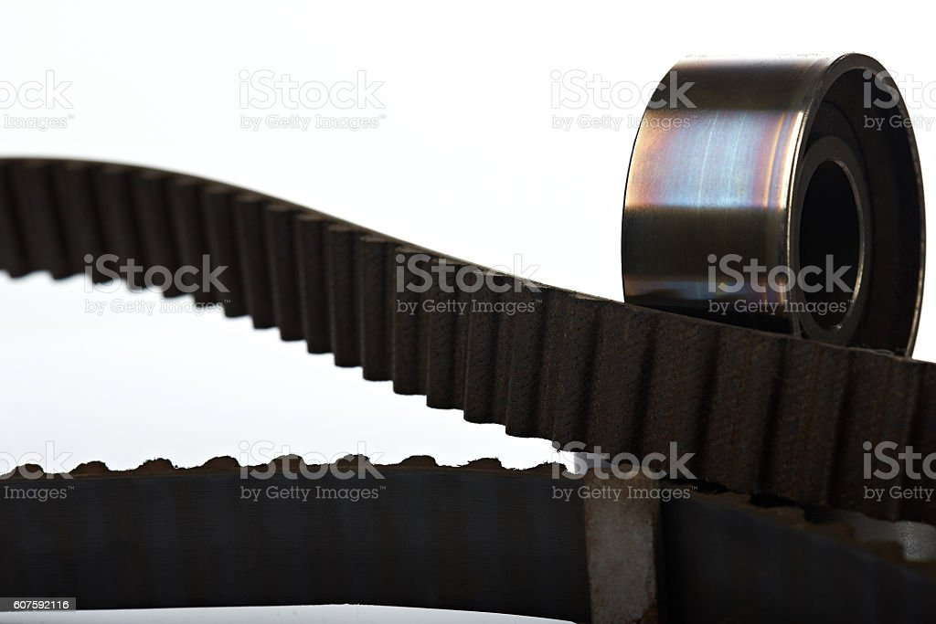 timing belt with used teeth stock photo