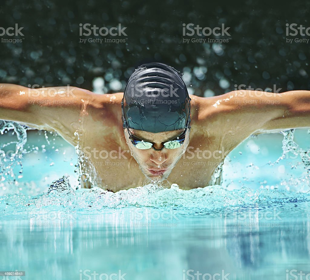 Timing his strokes stock photo