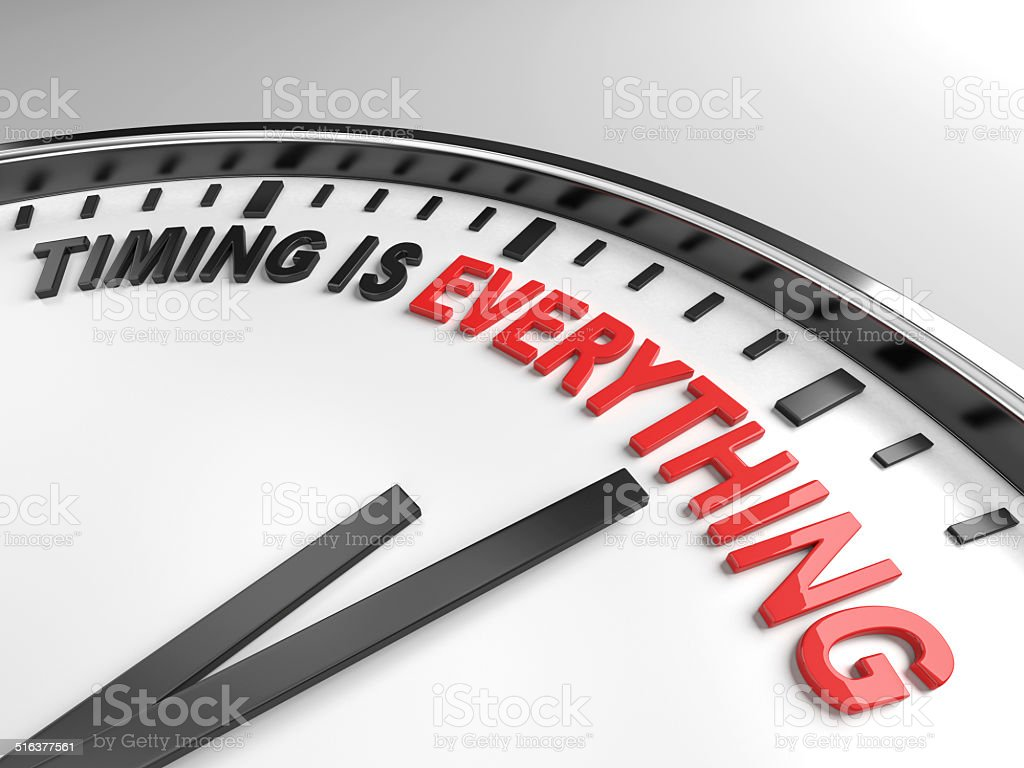 Timing is everything stock photo