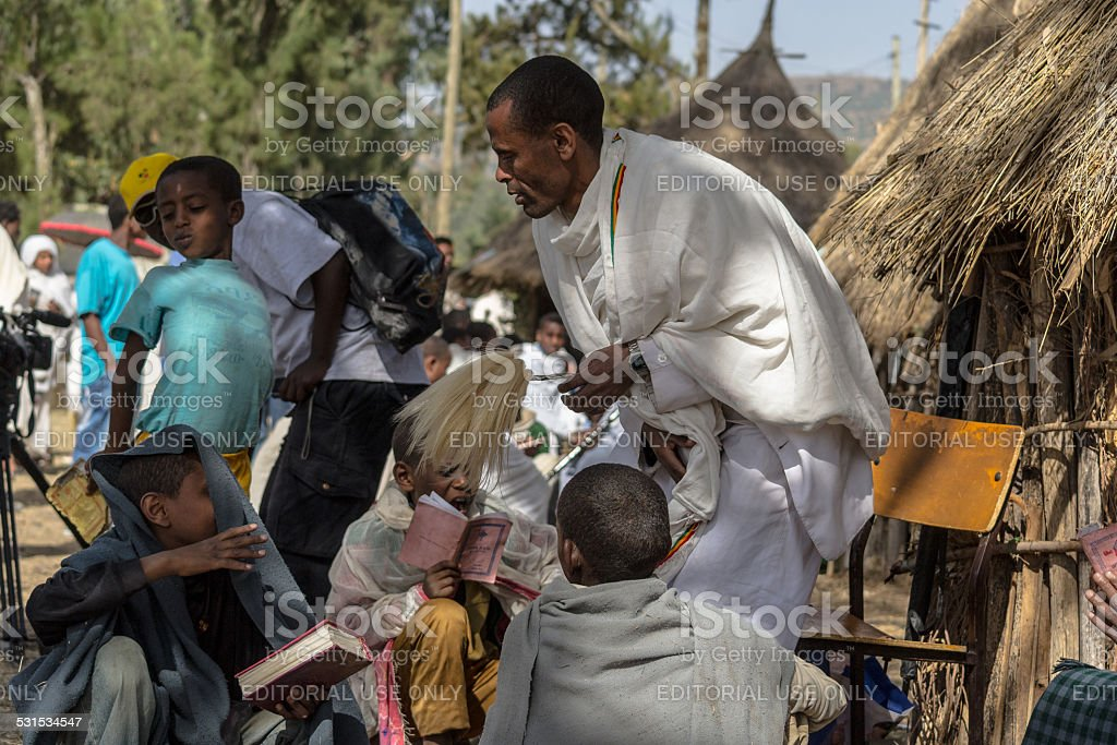 Timkat celebration in Ethiopia stock photo