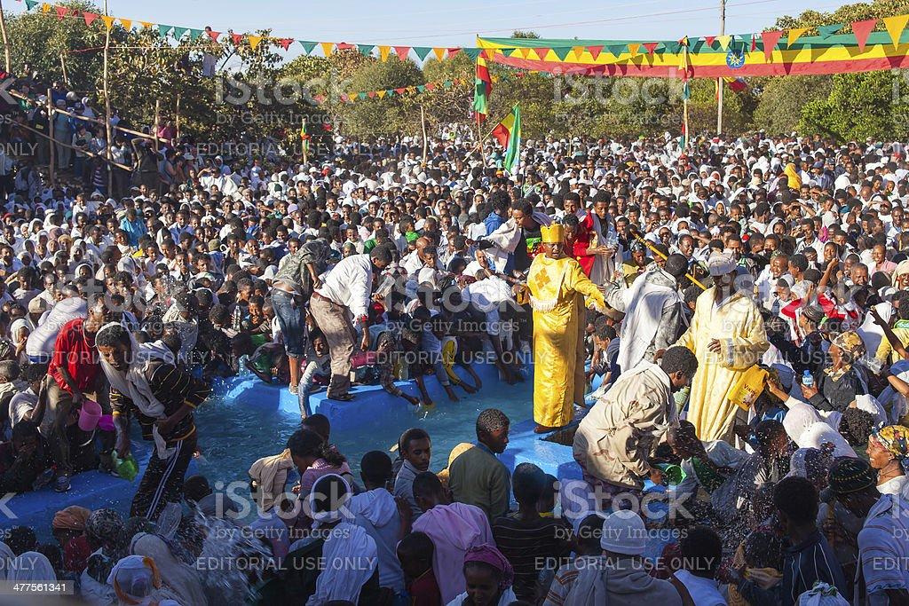 Timkat festival at Lalibela in Ethiopia stock photo