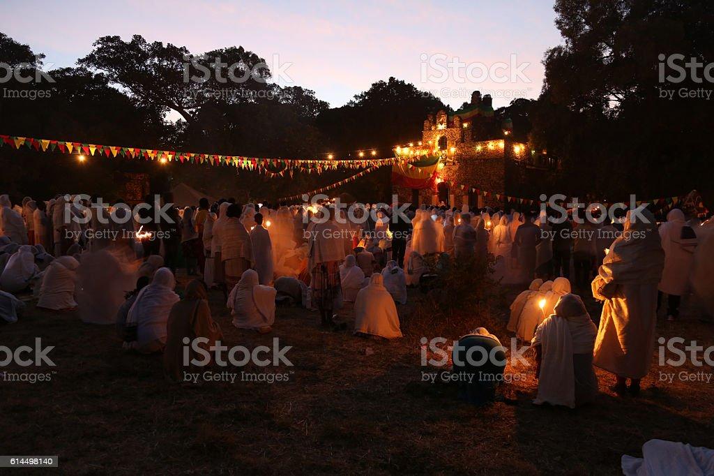 Timkat festival in Gondar, Ethiopia stock photo