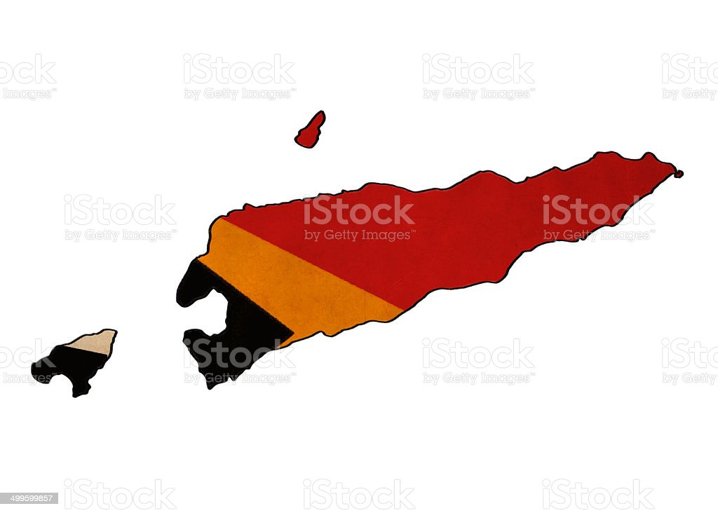 Timor Leste map on  flag drawing stock photo