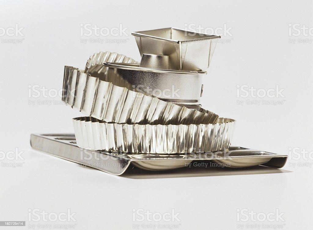 Tin baking dishes stock photo