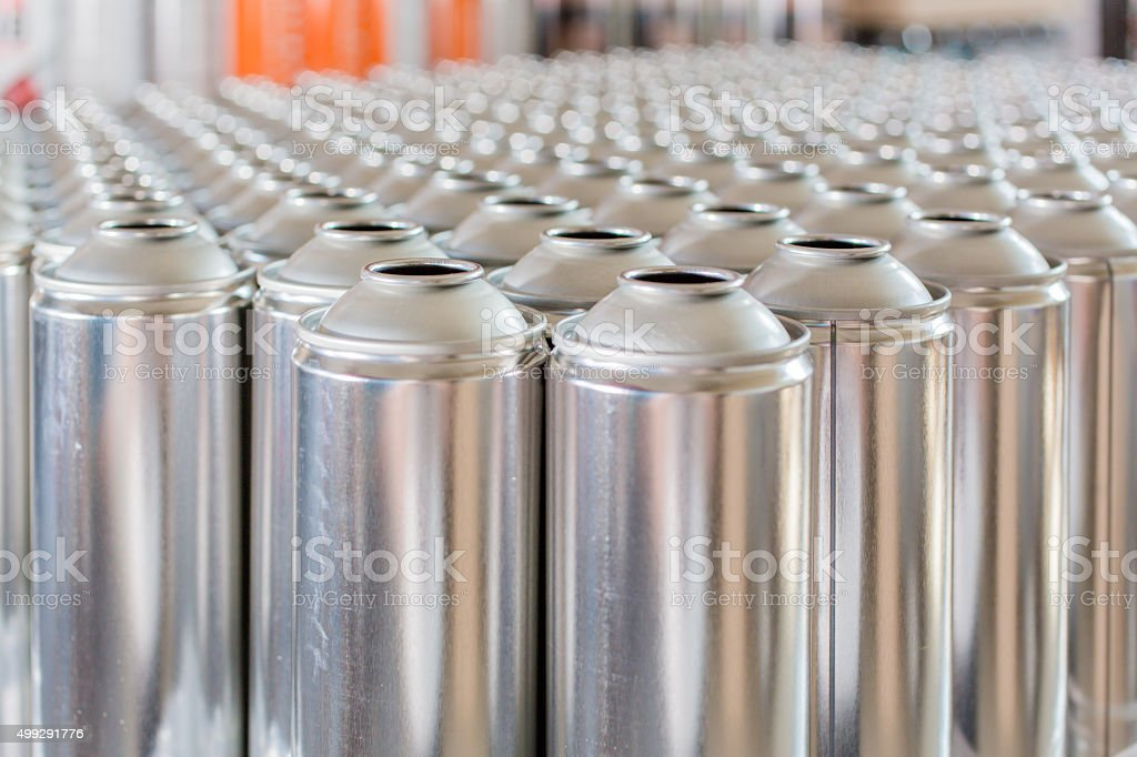 Tin blank tubes in rows stock photo