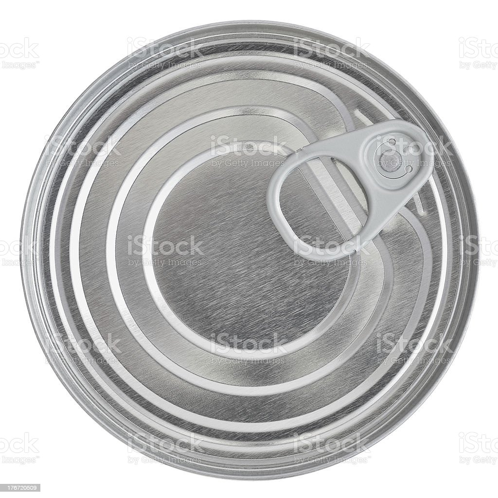 Tin Can Lid, Food Preserve Ringpull Canister Sealed Top, Isolated royalty-free stock photo