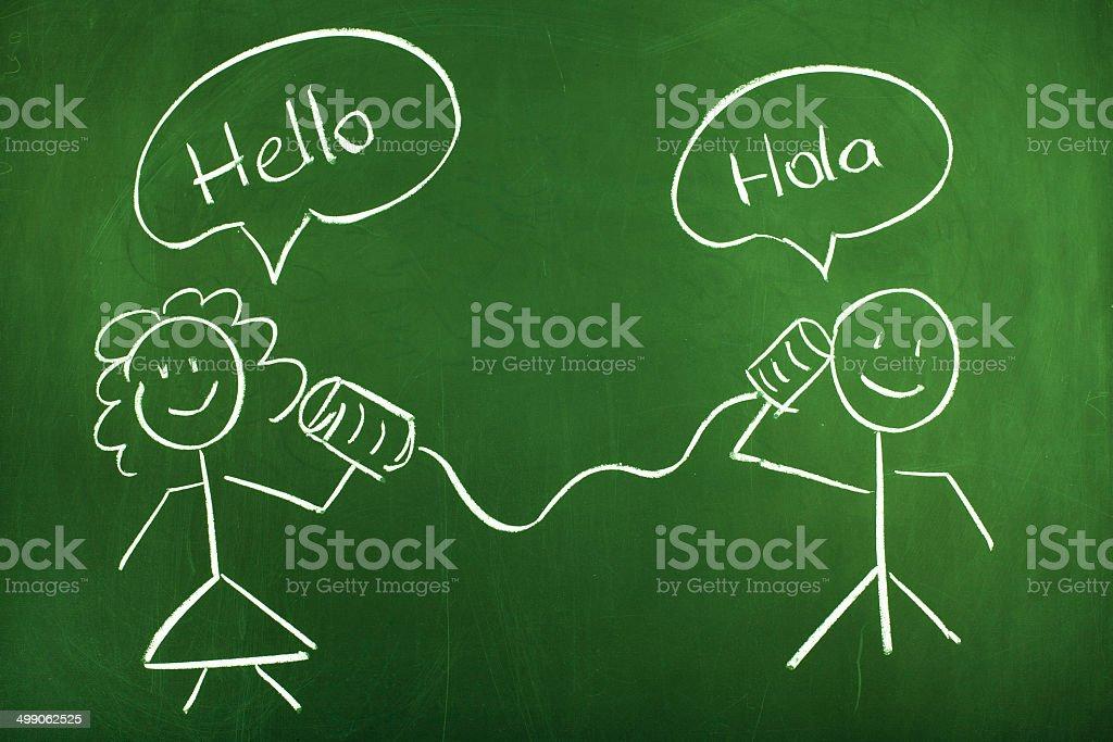 Tin Can Phone Conversation Spanish and English stock photo